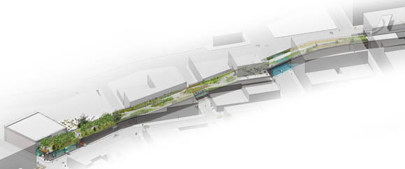 Rendering of the first section of the High Line; starting at Gansevoort and stretching north of 14th Street.