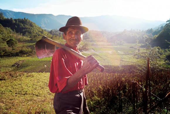 Senor Cordova returning from his field in Agros Village, La Esperanza