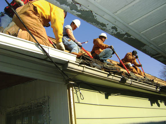 Collaborative rehab of a roof in Harding Park, Bronx, NY.  Participating groups included: SSBx, OAI and Rebuilding Together NY.