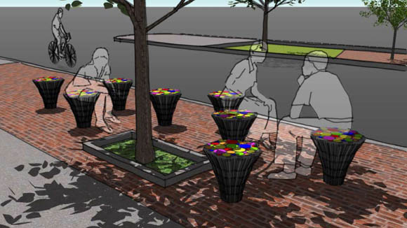 Renderings of the proposed outdoor furniture in use along the Greenway.