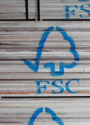 A shot of FSC certified lumber