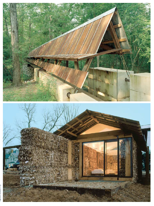 Top: Perry Lakes Park Covered Bridge Marion,  AL 2004 Thesis Project  Bottom: Corrugated Cardboard Pod Newbern, Hale County, AL 2000-2001 Thesis Project Gabriel Comstock, Amy Jo Holtz, Andrew Olds