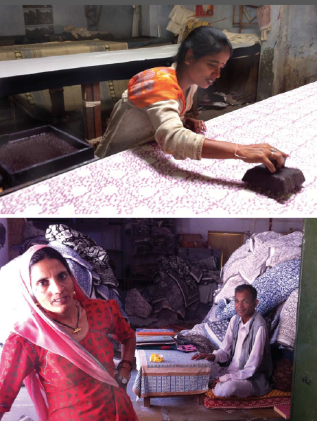 Top: Block printer from Bagru uses traditionally carved wooden blocks to print cotton fabric. Bottom: Rami Devi (left) and Rameshwar (right) manage the stock room in Tilonia. Rami Devi packs products for shipping. Rameshwar handles the bookkeeping for the stock moving in and out.