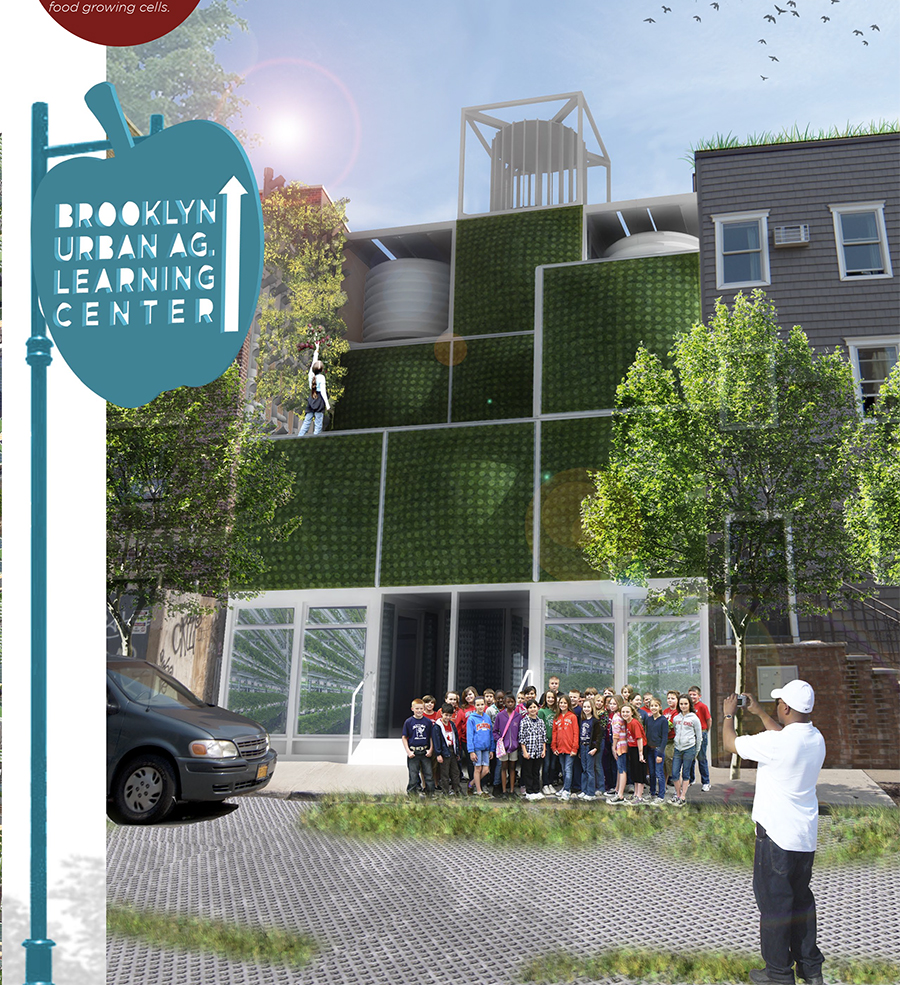 Street view of a vacant lot that has been transformed into  an urban agriculture education center with modular food growing cells.