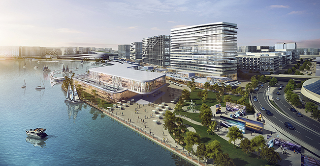 Included in the D3's Plan is a design institute, art and design museum and 2km waterfront promenade. The new Dubai neighborhood will feature residential, commercial, retail and hospitality real estate, amphitheater, convention center and more.  Image: Woods Bagot