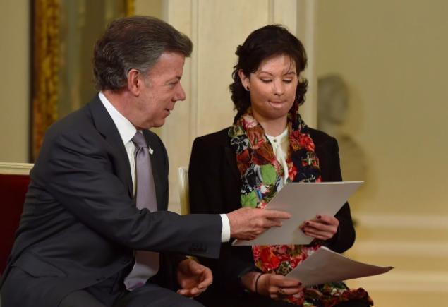 Colombia's President Juan Manuel Santos and Natalia Ponce de Leon