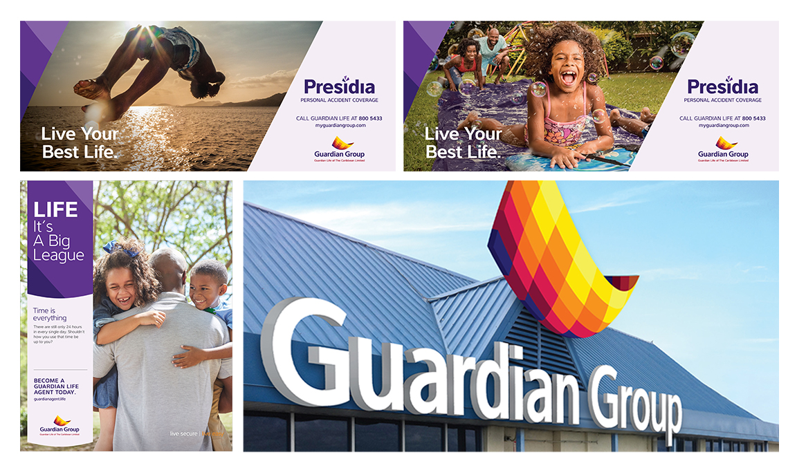 Guardian Group (clockwise from lower left) rebrand, recruitment campaign Life: It's a Big League, and Presidia campaign Live Your Best Life.