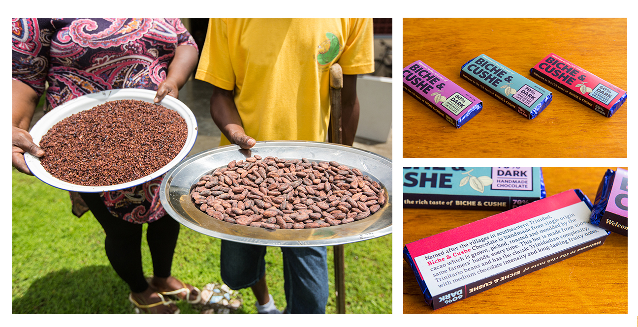 Cocoa farmers in Biche and Cushe showing cocoa nibs and beans (left); identity and label design for finished product (right).