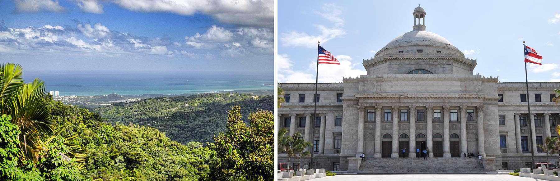 Puerto Rico and its capital building, San Juan. Flicker CC photos by: left, Trish Hartmann, right, Nate Hughes.
