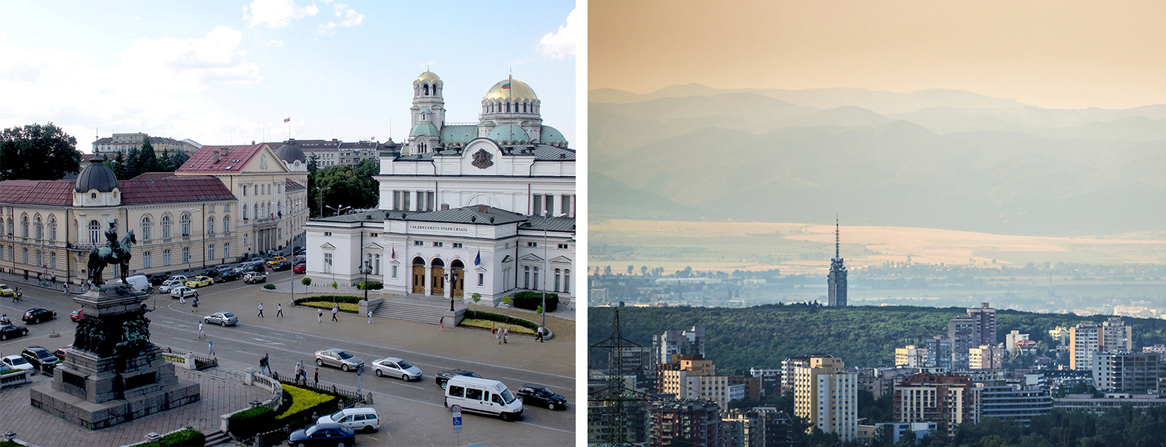 Left: The National Assembly, Monument to the Liberators and Alexander Nevsky Cathedral. Photo by Jennifer Hitchcock; Right, a touch of summer mood in the sky above Sofia, Bulgaria. Photo by Georgi C. Images retrieve from Flickr.com