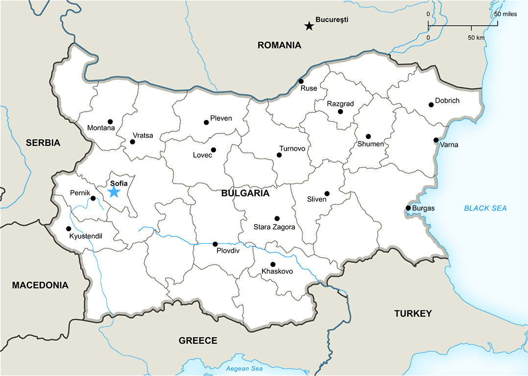 Bulgaria is nestled between Romania, above; Turkey and Greece, below; and Macedonia and Serbia to its left.  Built by the Romans in the 4th Century, its capital Sofia includes historical influences from Greek, Roman, Ottoman, and Soviet occupation.  Map provided by OneStopMap.com